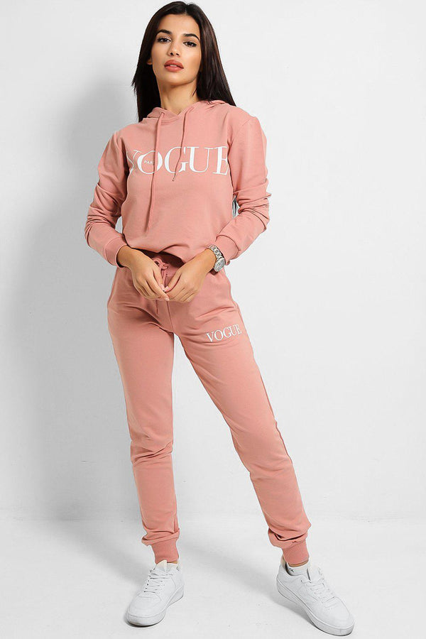 Pink Slogan Details Cotton Blend Hooded Tracksuit - SinglePrice