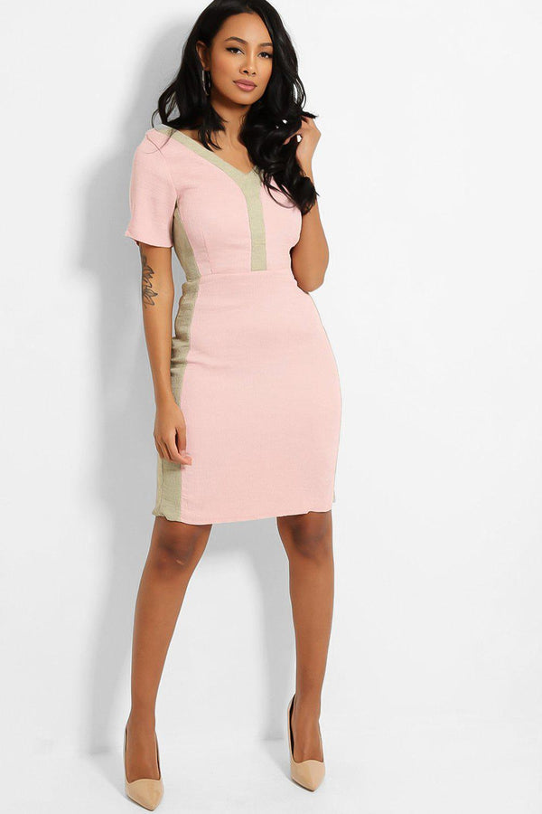 Pink Contrast Trims Crepe Midi Dress