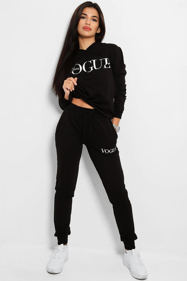 Black Slogan Details Cotton Blend Hooded Tracksuit - SinglePrice