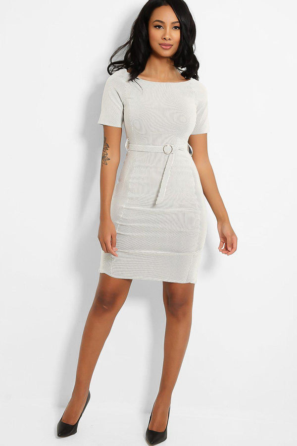 Light Grey Stripe 100% Cotton Self-Belt Dress
