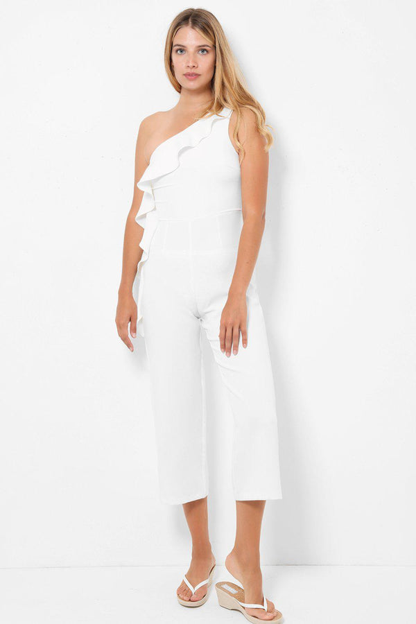 One Shoulder Layered Neckline White Jumpsuit-SinglePrice