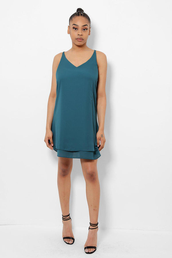 Turquoise Layered Cami Dress - SinglePrice