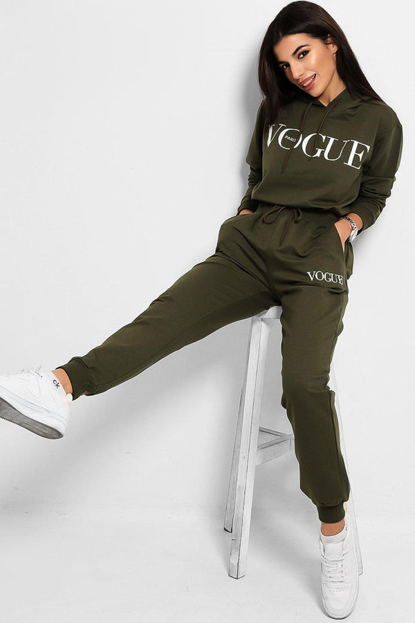 Khaki Slogan Details Cotton Blend Hooded Tracksuit - SinglePrice
