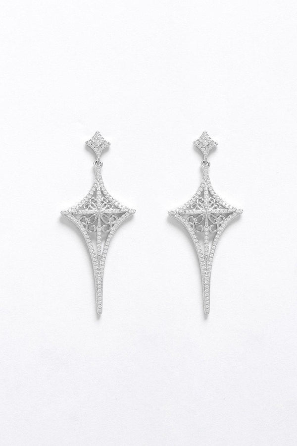 Silver 925 CZ Encrusted Filigree Cross Stud Earrings - SinglePrice