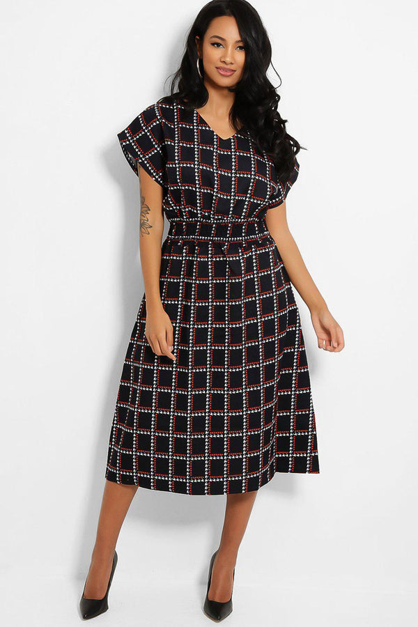 Dark Navy Square Print Shirred Waist Midi Dress