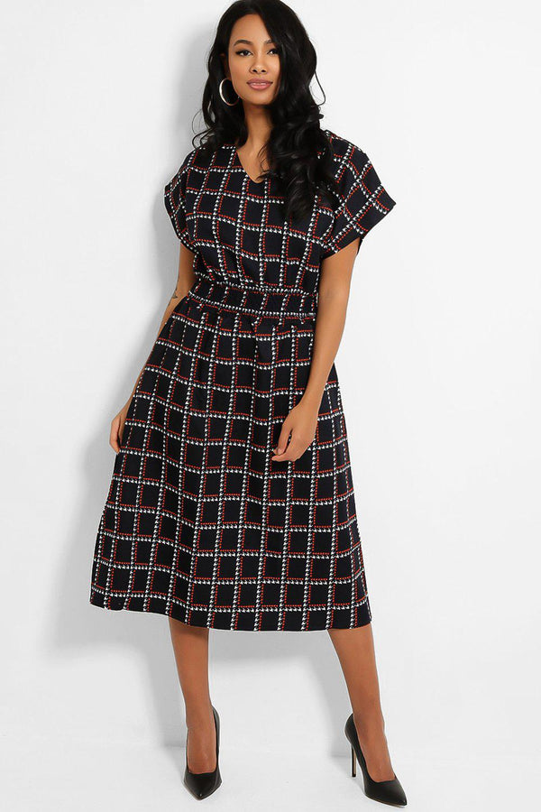 Dark Navy Square Print Shirred Waist Midi Dress-SinglePrice