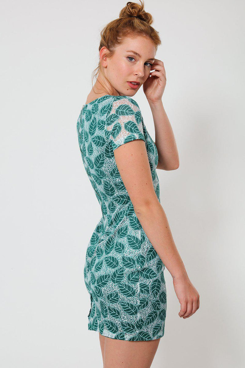 Green Embroidered Leaf Motif Mesh Mini Dress-SinglePrice