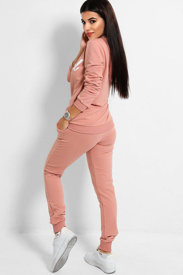 Pink Angel Slogan Cotton Blend Tracksuit-SinglePrice