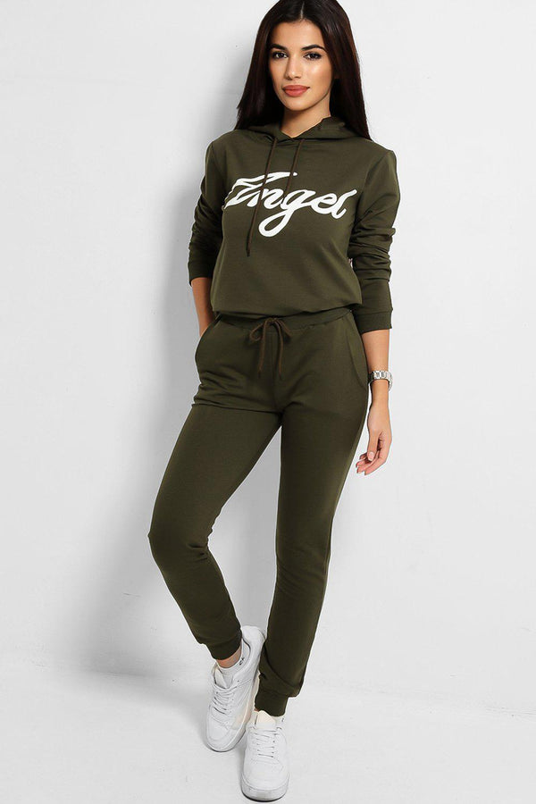 Khaki Angel Slogan Cotton Blend Tracksuit-SinglePrice
