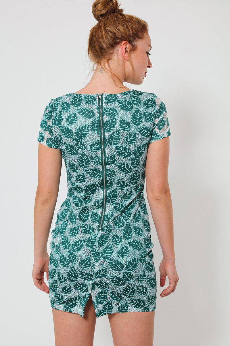 Green Embroidered Leaf Motif Mesh Mini Dress - SinglePrice