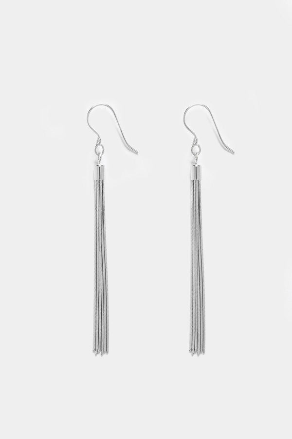 Silver 925 Tassels Drop Hook Earrings - SinglePrice