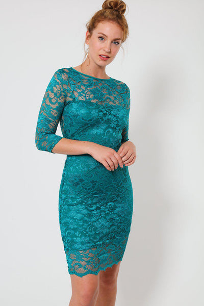 Dark Turquoise Lace Open Back Bodycon Dress-SinglePrice