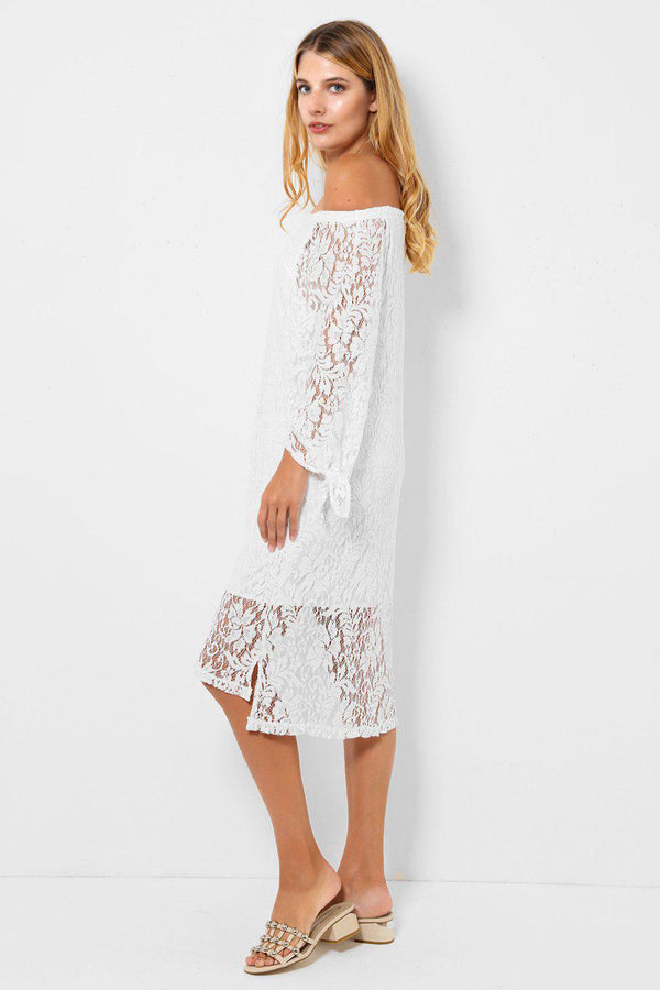 White Lace Midi Off Shoulder Dress-SinglePrice