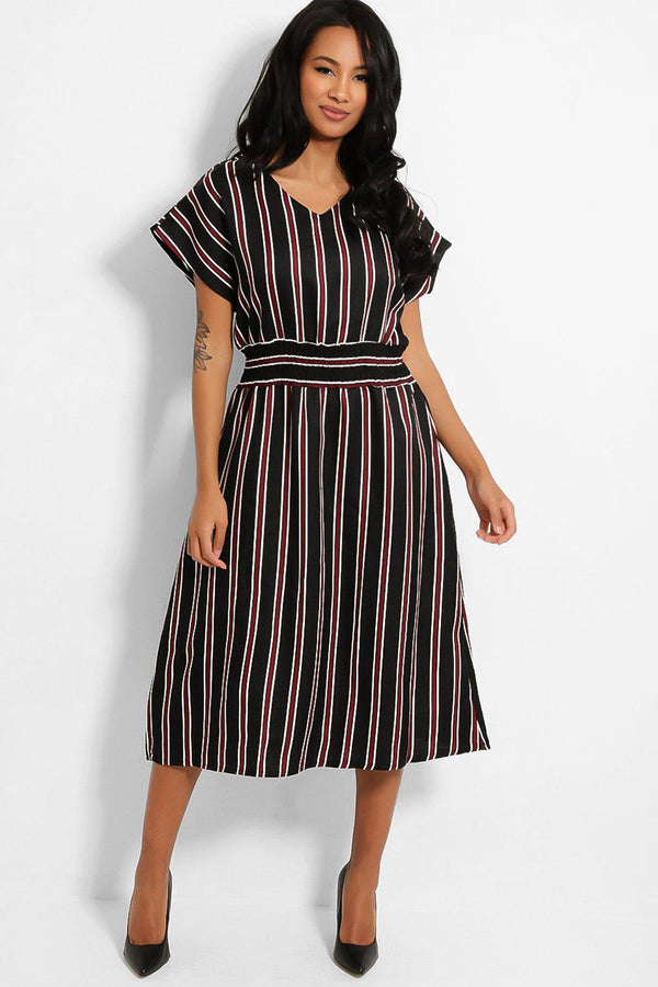 Black Burgundy Stripe Shirred Waist Midi Dress