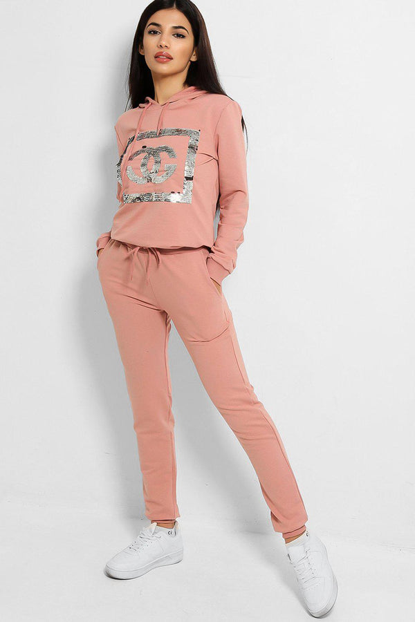 Pink Sequinned Logo Hooded Tracksuit - SinglePrice