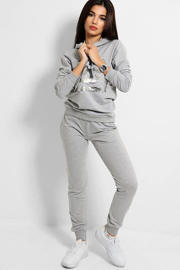Grey Sequinned Logo Hooded Tracksuit - SinglePrice