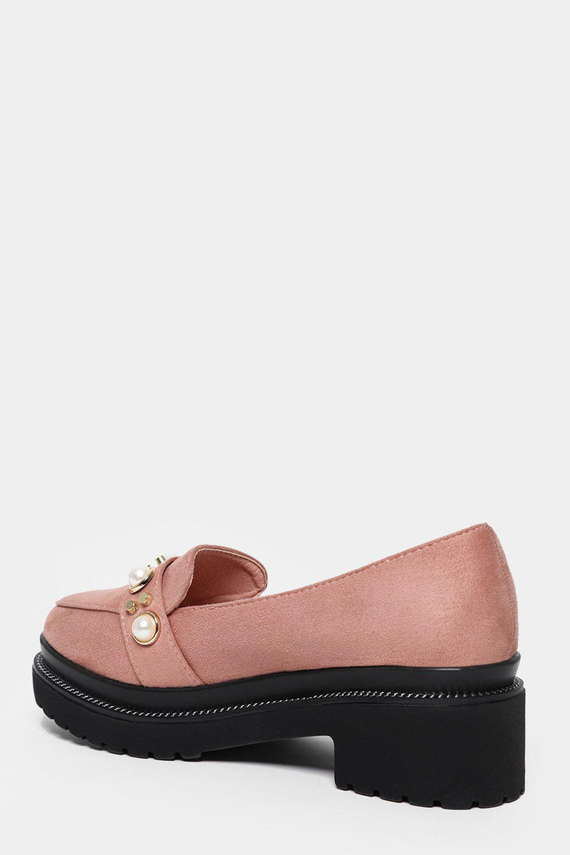 Pink Studded Chunky Tractor Loafers - SinglePrice