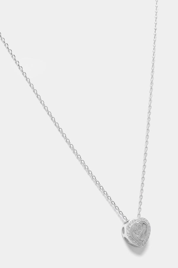 Silver 925 CZ Encrusted 3D Heart Necklace-SinglePrice