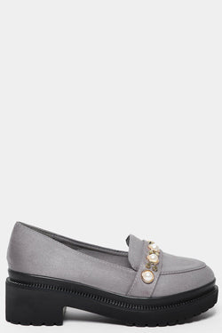 Grey Studded Chunky Tractor Loafers - SinglePrice