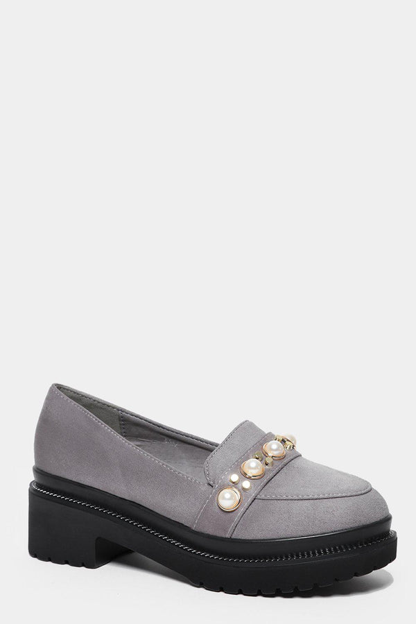 Grey Studded Chunky Tractor Loafers-SinglePrice