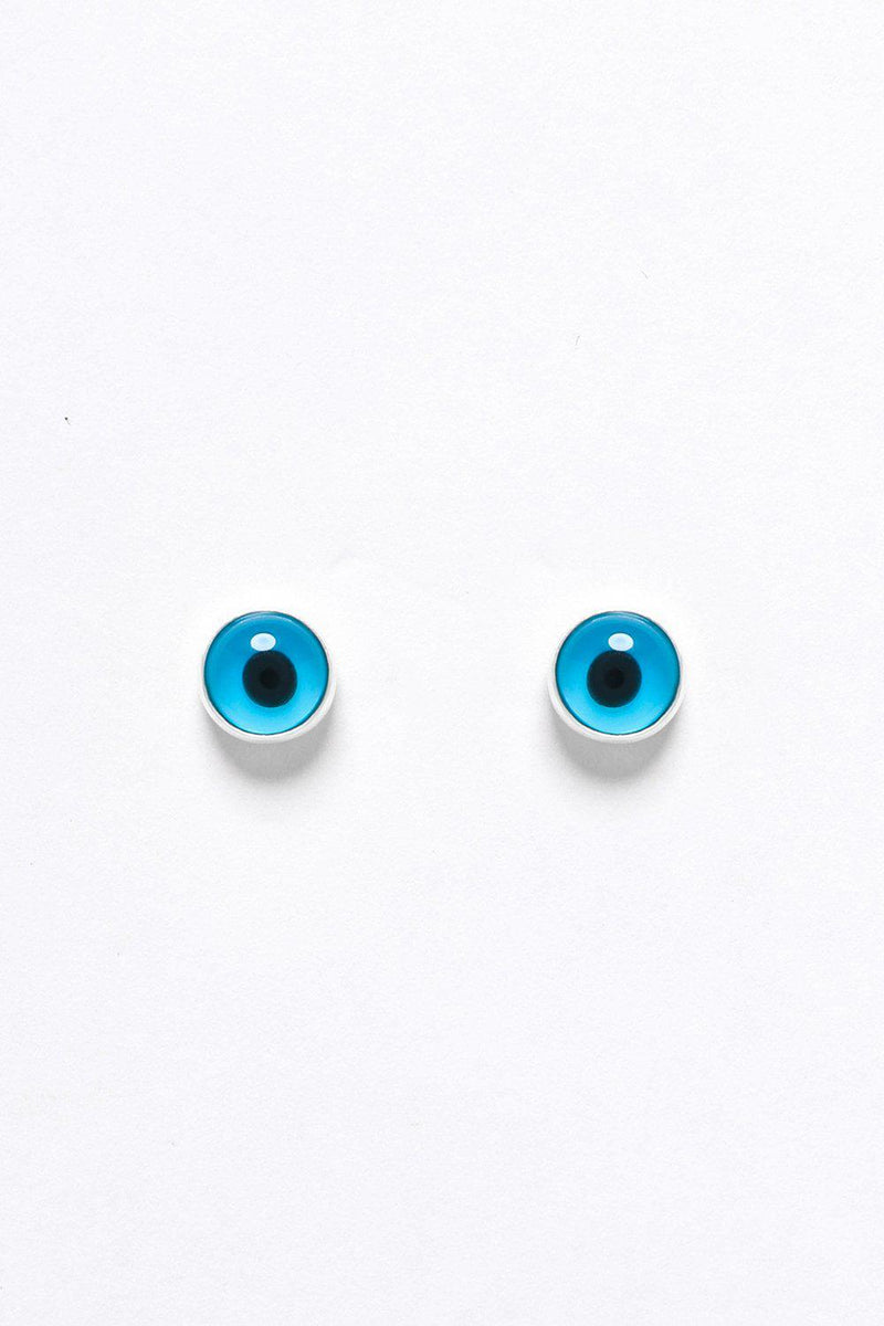 Silver 925 Blue Evil Eye Stud Earrings - SinglePrice