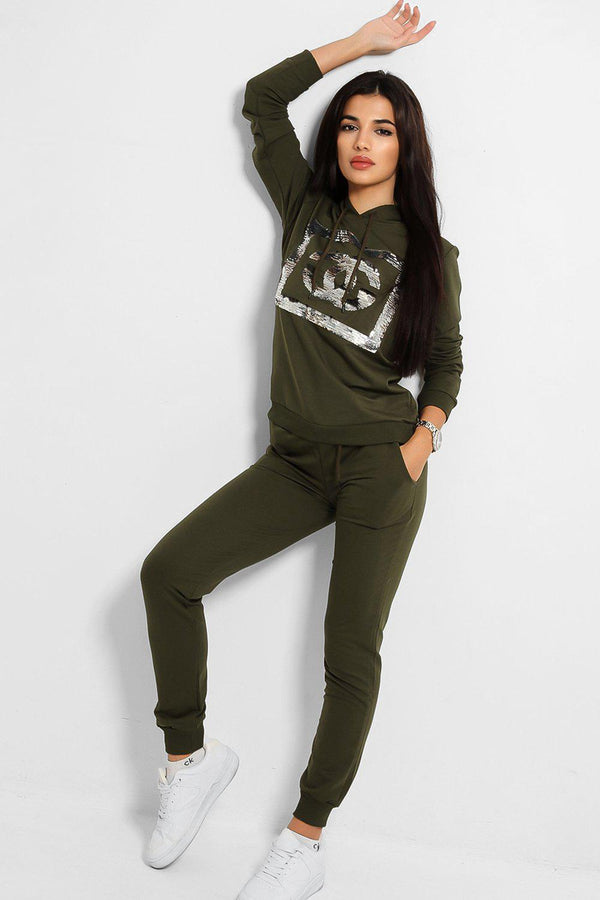 Khaki Sequinned Logo Hooded Tracksuit
