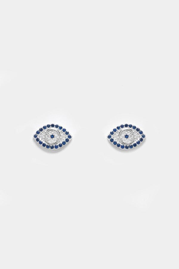 Silver 925 CZ Encrusted Evil Eyes Stud Earrings - SinglePrice