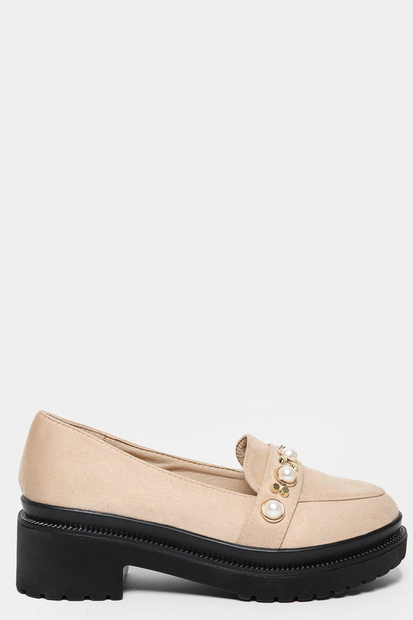 Beige Studded Chunky Tractor Loafers - SinglePrice