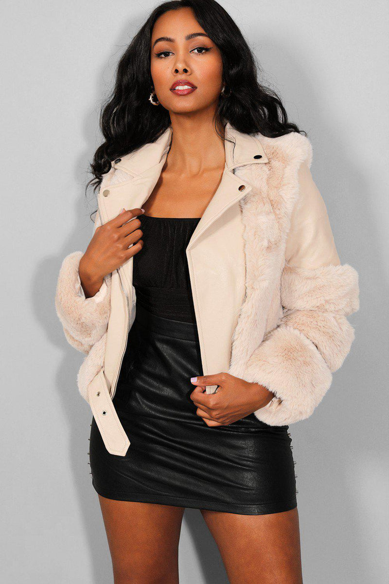 Beige Faux Fur Trims Beige Vegan Leather Belt Detail Cropped Jacket - SinglePrice