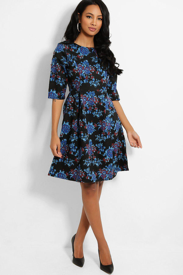 Black Blue Flowers Print Pleated Details Dress