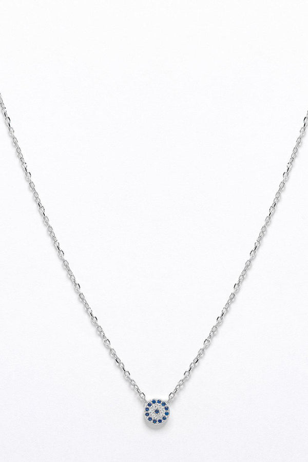 Silver 925 Blue CZ Encrusted Small Circle Necklace-SinglePrice