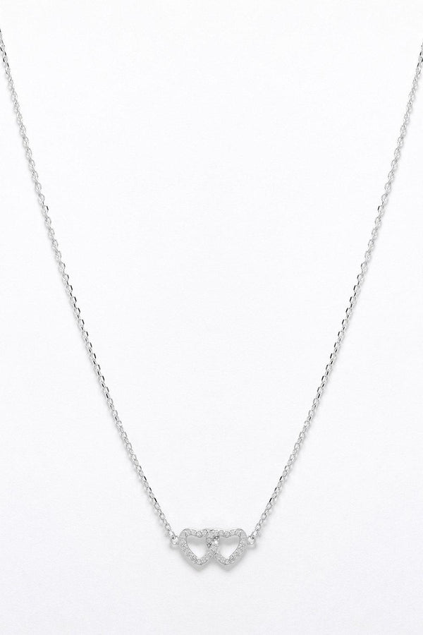 Silver 925 CZ Encrusted Intertwined Hearts Necklace-SinglePrice