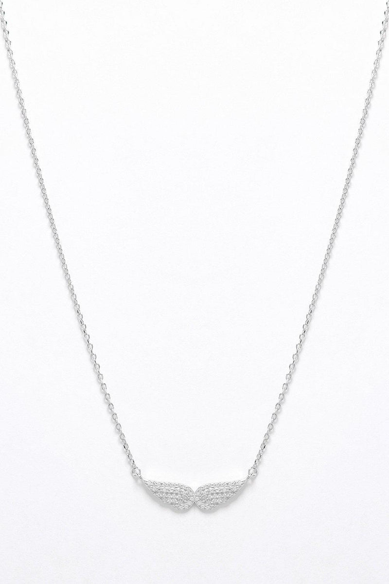 Silver 925 CZ Encrusted Angel's Wings Necklace - SinglePrice