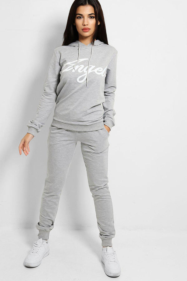 Grey Angel Slogan Cotton Blend Tracksuit-SinglePrice