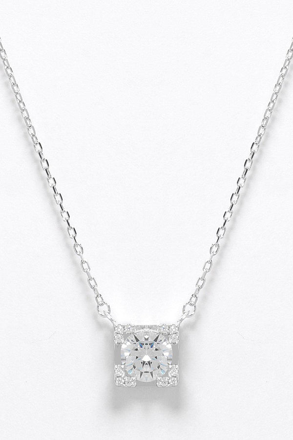 Sterling Silver Single Square CZ Necklace - SinglePrice