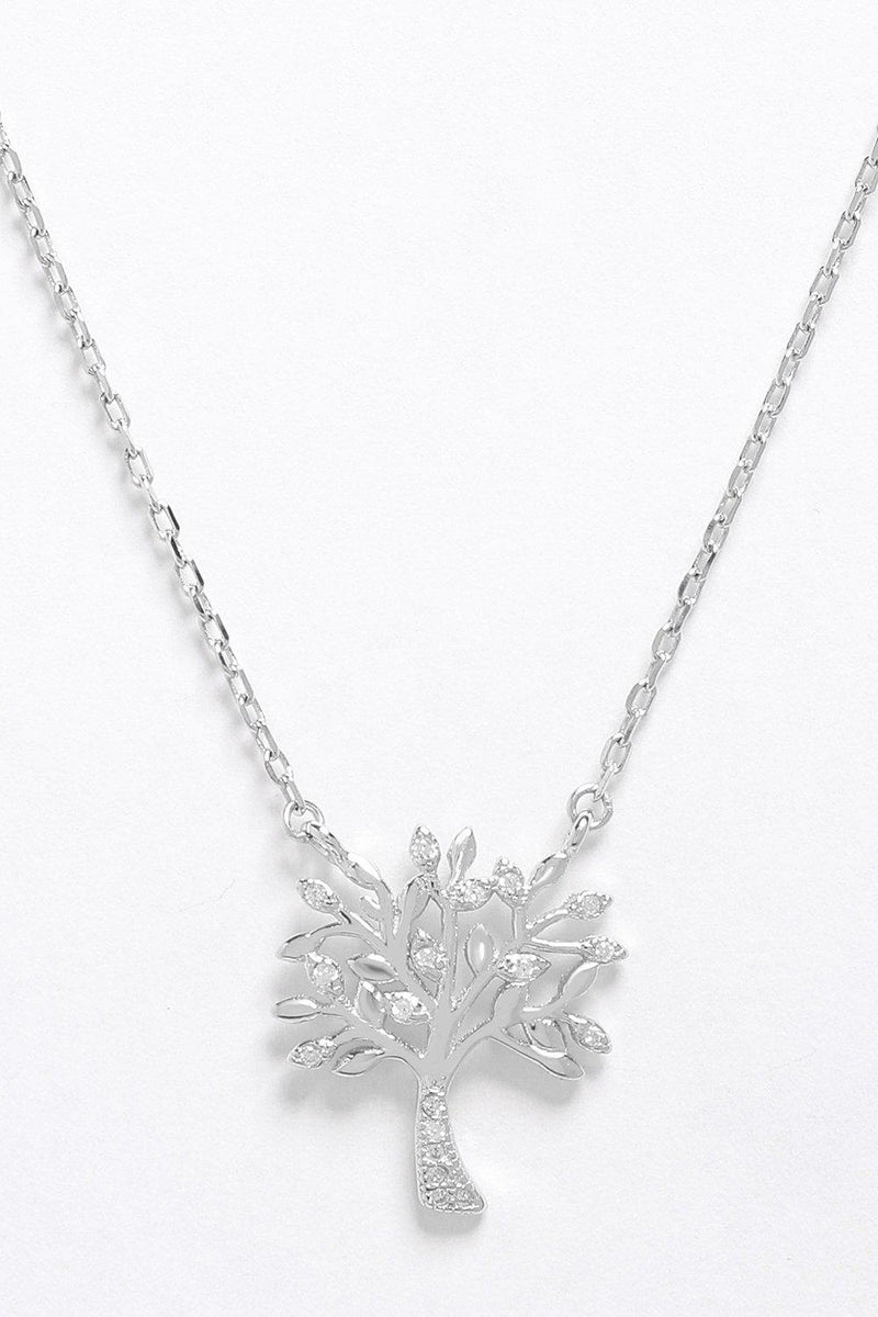 Sterling Silver CZ Encrusted Tree Of Life Necklace - SinglePrice