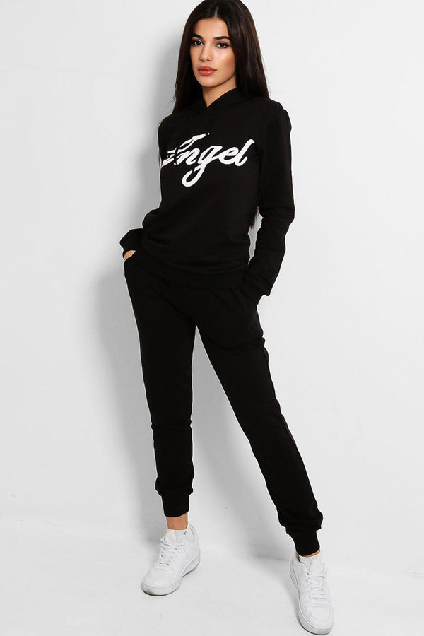 Black Angel Slogan Cotton Blend Tracksuit-SinglePrice