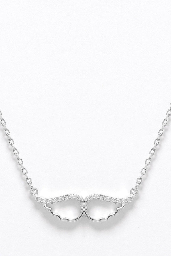 Sterling Silver CZ Encrusted Cut Out Wings Necklace - SinglePrice