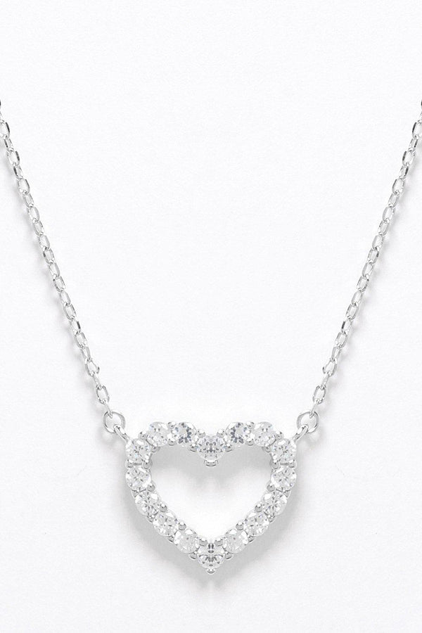Sterling Silver CZ Encrusted Heart Outline Necklace-SinglePrice