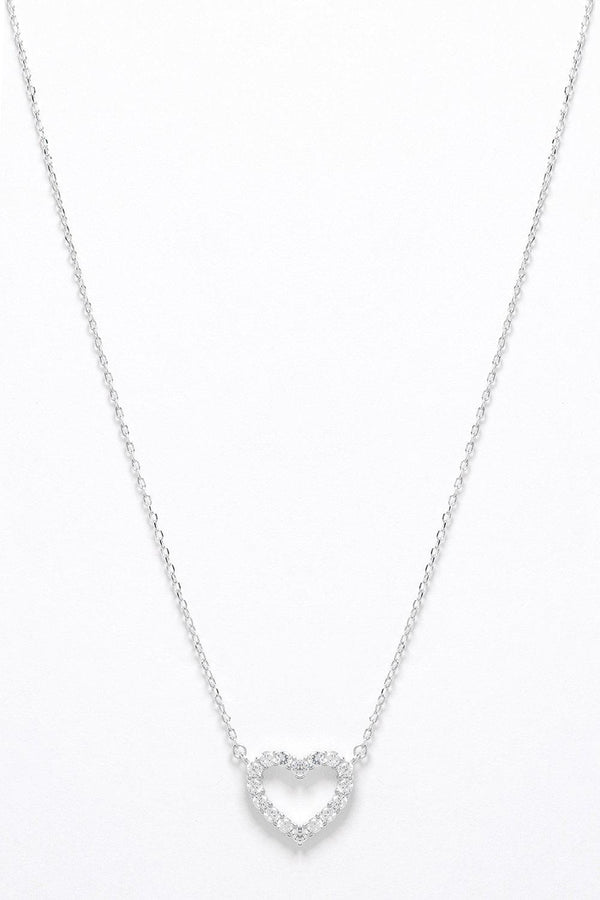Sterling Silver CZ Encrusted Heart Outline Necklace - SinglePrice