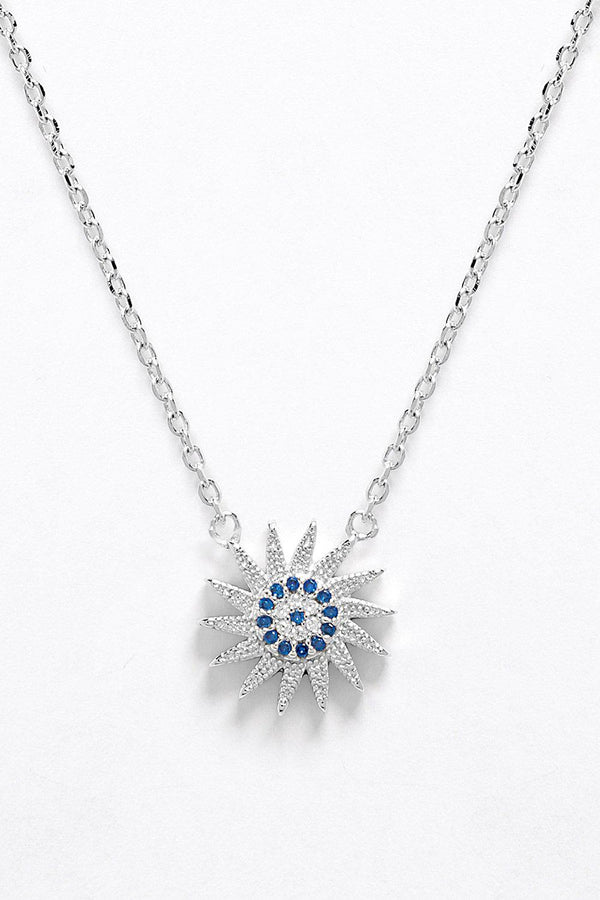 Sterling Silver CZ Encrusted Star Burst Necklace - SinglePrice