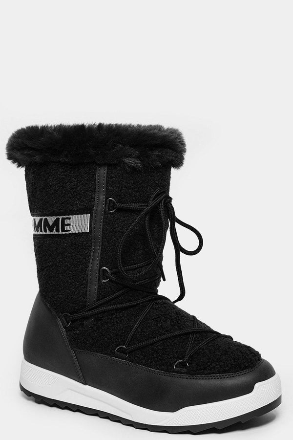 Black Faux Fur Trim Tall Snow Boots-SinglePrice
