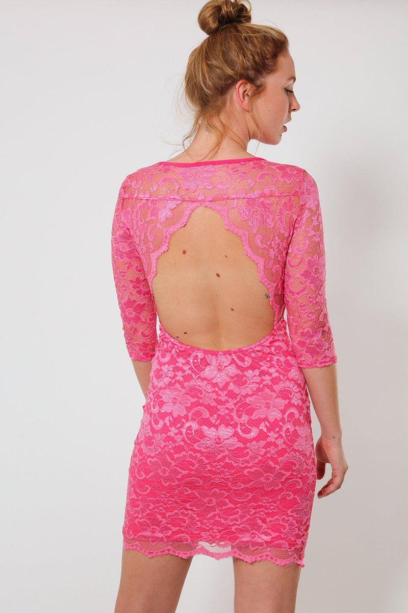 Pink Lace Open Back Bodycon Dress-SinglePrice