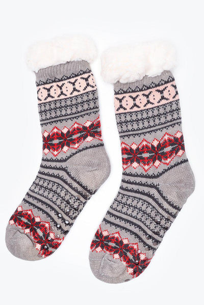Grey Faux Shearling Lined Small Fairisle Knit Socks-SinglePrice
