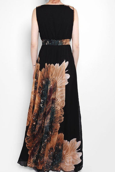 Black Floral Print Necklace Detail Maxi Dress-SinglePrice