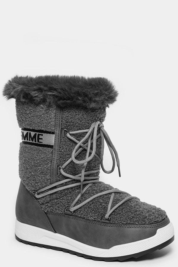 Grey Faux Fur Trim Tall Snow Boots-SinglePrice