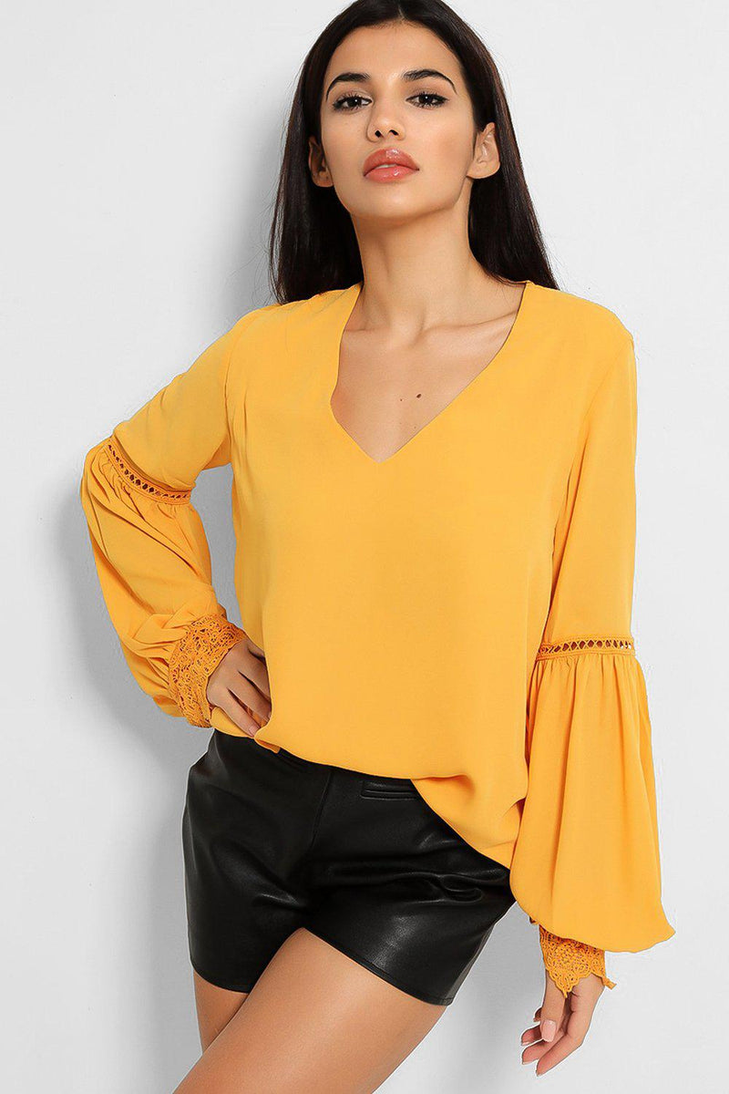 Mustard Crochet Lace Panel Balloon Sleeve Blouse - SinglePrice
