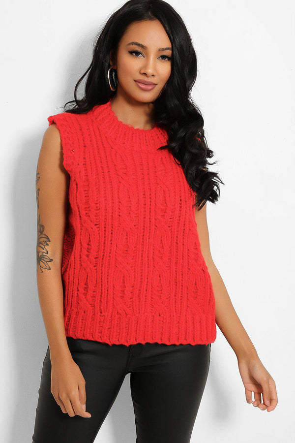 Red High Neck Braid Knit Vest-SinglePrice