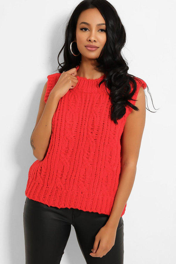 Red High Neck Braid Knit Vest
