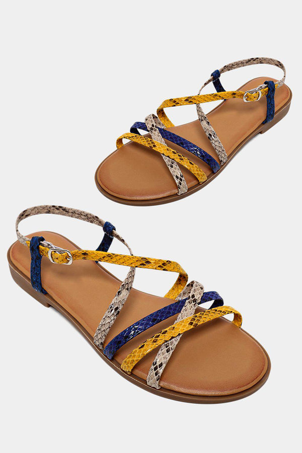 Multicolour Thin Crossover Python Print Straps Yellow Sandals - SinglePrice